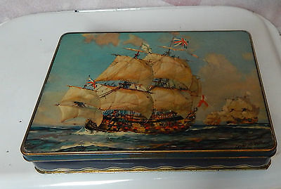 Vintage Burtons gold Medal biscuits Blackpool Tin with galleon on lid 24x18cm
