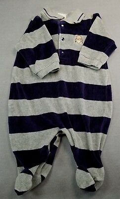 8e456be9c Little Me 3 Month Baby Boy Gray & Blue Striped Velour Footed Sleep N Play/