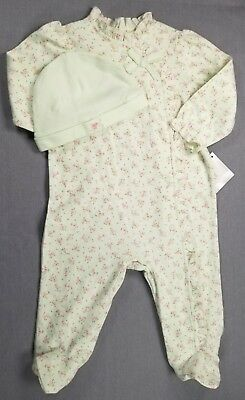New! First Impressions 6-9 Month Baby Girl Green Floral 2Pc Footed Outfit W/hat