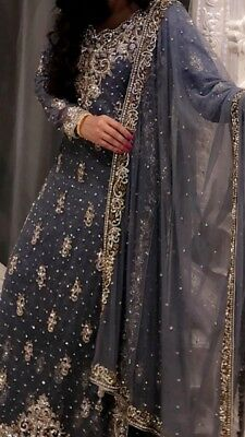 Asian Wedding Dress Outfit Heavy Embroidered Grey
