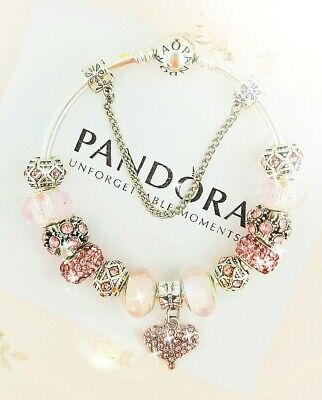 Authentic Pandora Bracelet Silver Bangle with Pink Love Charms