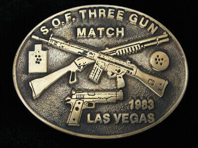Qg05147 Vintage 1983 *S.o.f. Three Gun Match Las Vegas* Solid Brass Belt Buckle
