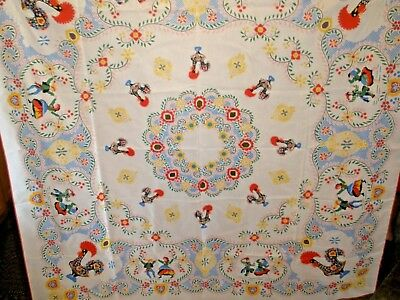 """Vintage Tablecloth White with Dutch Boy & Girl & Roosters 56"""" X 56"""""""