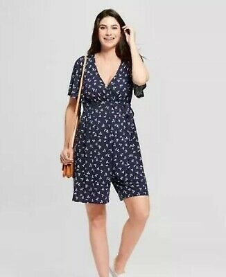 Isabel Maternity Leaf Print Crossover Belted Romper NAVY sz M Medium NWT