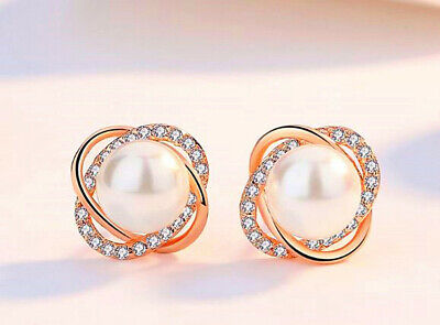 Rose Gold Crystal Pearl Twisted Earrings 925 Sterling Silver Womens Jewellery UK
