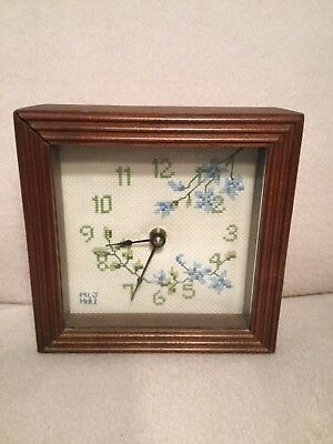 Sudberry House Wood Finish Square Wall Clock Embroidered Blue Floral Vintage