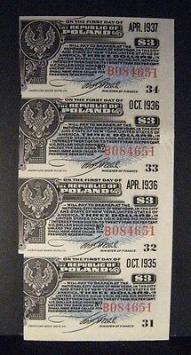1935-1936 Poland, Republic of, $3 Bond Interest Coupons ** FREE U.S. SHIPPING **