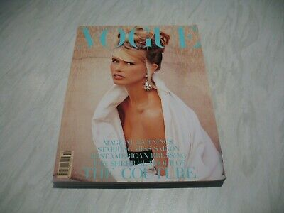 Vogue magazine # 1989 October UK issue Claudia Schiffer cover by Herb Ritts