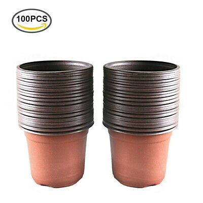 100 Pcs Plastic Plant Nursery Pot Seedlings Flower Container Seed Starting Pots