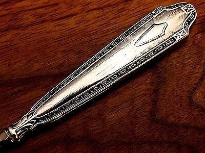 American 19thC Sterling Silver Handled Nail File: Victorian Pattern No Monograms
