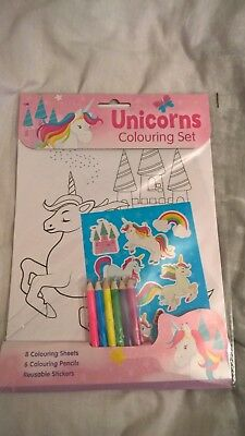 Children's Girls Unicorn colouring set with stickers and pencils