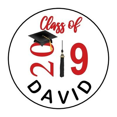"30 Graduation 2019 Cap Tassel Personalized 1.5"" Round Labels Lollipop Stickers"