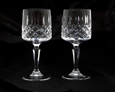 Pair of Vintage Crystal Cut Glass l Stemmed Wine Glasses 16 cm Tall