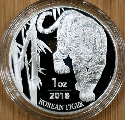 2018 South Korea 1 oz. SILVER Tiger .999 % Coin - PROOF LIKE with capsule