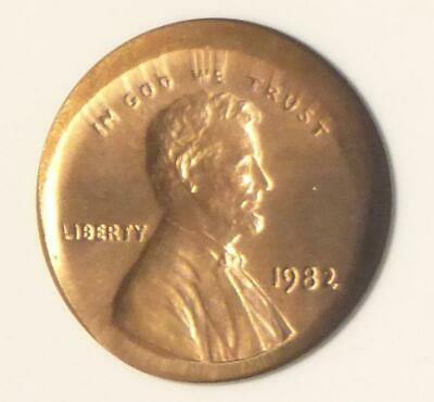 1982 ANACS MS 64 Red Large Date Bronze Broadstruck Mint Error Lincoln Cent Coin
