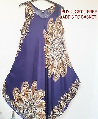 Blue Batik Hand Drawn Sleeveless Kaftan Dress  One Size Made In Malaysia Va144
