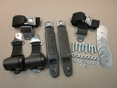 Muscle And Classic Car Retractable Black Seat Belts Front And Rear 4Pc Belt Set