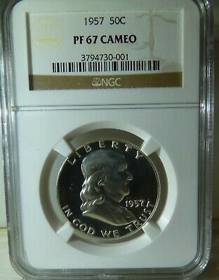 1957 FRANKLIN Half Dollar 50C NGC Certified PF 67 CAMEO  FREE PRIORITY SHIPPING