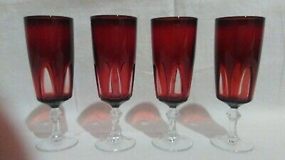 Vintage French Cristal D'Arques-Durand Gothic Ruby Red Wine Glasses
