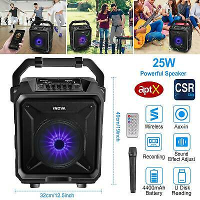 25W PA Party Speaker System Wireless Big LED Portable Stereo Tailgate Loud +Mic