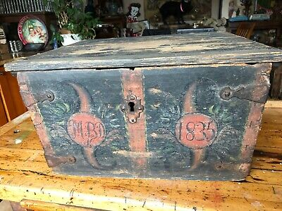 Antique 1835 Folk Art Tool Box, Coffer,  Chest Orig. Paint, Forged Iron Hinges