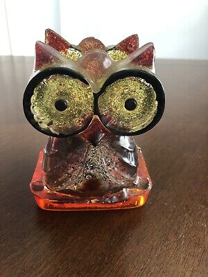 Vintage Mid Century Orange Yellow Lucite OWL Napkin Holder letter office glitter