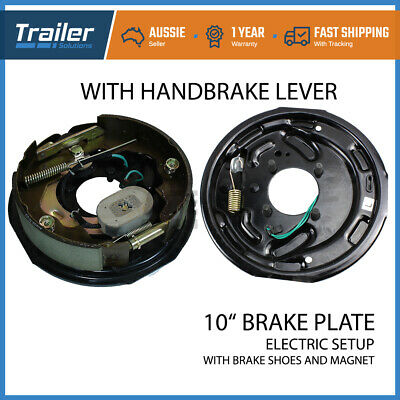 "2 x 10"" Trailer Drum Hub Electric Brake Backing Plate electrical Shoe Magnet set"