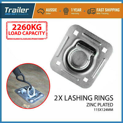 2 X Lashing Ring Zinc Plated Tie Down Points Anchor Ute Trailer 115 X 124Mm