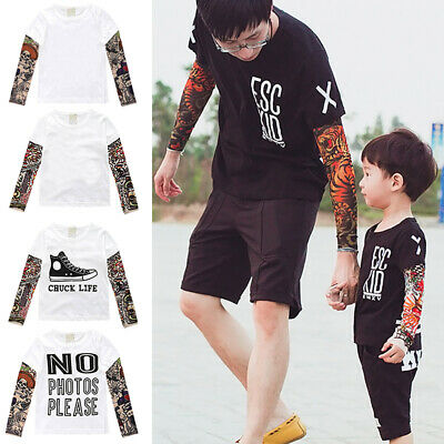 Father Son Matching T-shirt Tattoo Print Long Sleeve Tops Family Clothes Outfit