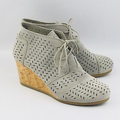 6846696f346 Womens 9 Toms Desert Wedge Bootie Drizzle Gray Perforated Leaf Lace Ankle  Boots