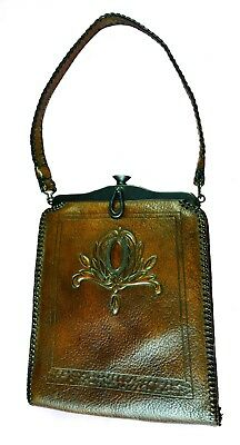 Antique Arts & Crafts ' Meeker Made' Woman's Brown Embossed Leather Purse,Lined