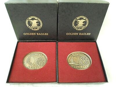 Vintage Pair of Golden Eagles NRA Belt Buckles Brass Mint in Boxes x 2