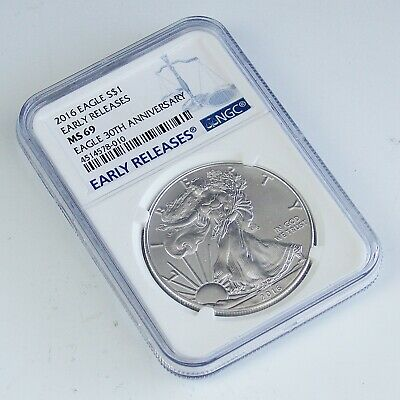 2016 American Silver Eagle NGC MS69 30th Anniversary Early Release $1 Dollar