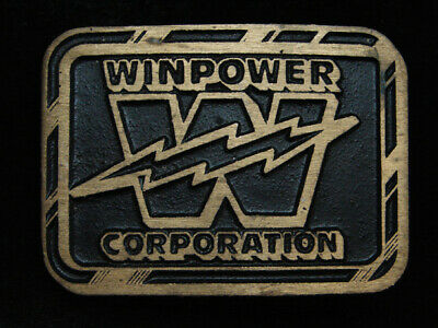 PI07142 *NOS* VINTAGE 1970s **WINPOWER CORPORATION** SOLID BRASS BELT BUCKLE