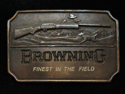 PF23162 VINTAGE 1970s **BROWNING FINEST IN THE FIELD** GUN & HUNTING BELT BUCKLE