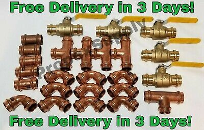 "(Lot of 25) 3/4"" Propress Copper Fittings.Tees, Elbows, Coupling Press Ball Valv"