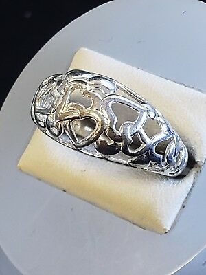 925 Solid Sterling Silver Ring With Hearts Design, Sz 8.25