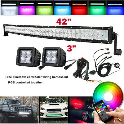 "Curved 5D RGB 42Inch LED Light Bar + 2x 3"" Pods & Wiring 4X4 SUV Truck Driving"