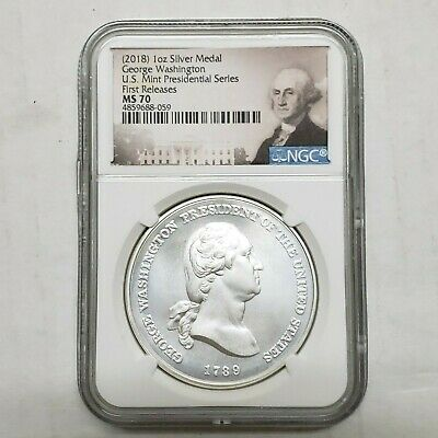 2018 George Washington Silver Presidential Series Medal MS70 Coin SKU C2