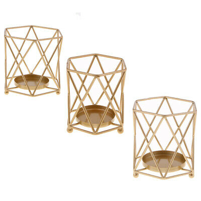 Metal Golden Candle Holder Geometric Nordic Style 3D Candlestick Table Decor