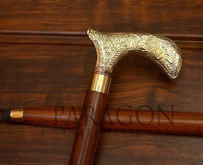 King Style Brass Handle Cane Vintage Design Victorian Wooden Walking Stick Gifts