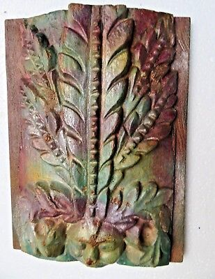 Antique Architectural Carved Wood remanent reclaimed wall decor human face 1900
