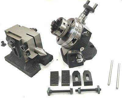 """3""""/80Mm Tilting Rotary Table+M6 Clamp Kit+50Mm 4Jaws Self Centering+Back Plate"""