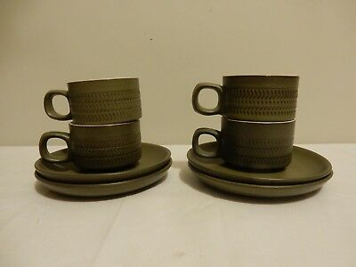 4 x Denby Chevron Design Coffee Cups and Saucers Olive Excellent