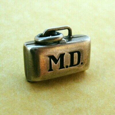 Vintage MD Doctor Bag Sterling Charm Opens to Enameled Baby Engraved Name Marie
