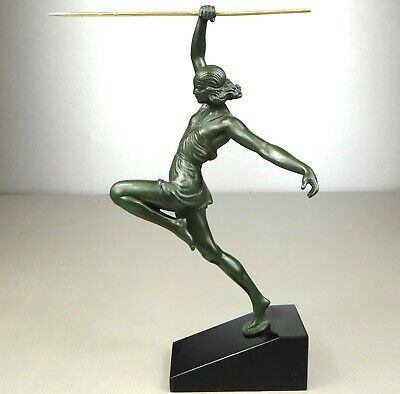 1920/1930 Fayral Le Faguays M Le Verrier Statue Sculpture Art Deco Diane Javelot