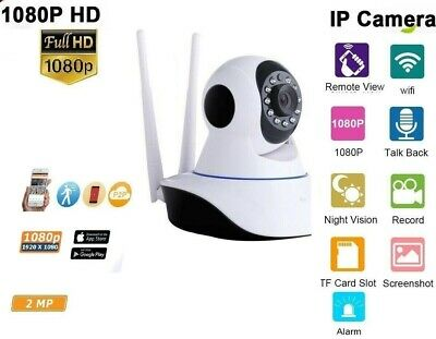 Telecamera Ip Cam Hd 1080P Camera Wireless Led 2Mp Megapixel 2 Antenne Ms