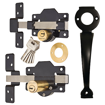 Gatemate Security Garden Shed Gate Lock Long Throw Bolt Double Locking & Handle