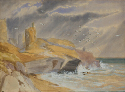 Early 20th Century Watercolour - Castle Ruins by the Sea