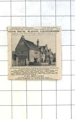 1936 Blaston, Leicestershire, Stone House, Eight Bedrooms 5 Acres For Sale